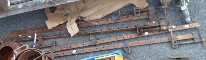 Four large sash clamps