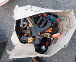 A box of clamps including G clamps, JCB & Roughneck examples, etc.