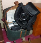 An Olympus SP800 UZ digital camera and a Sony camcorder and equipment in associated cases