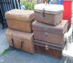 Five metal trunks - various condition