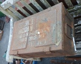 A metal ammunition case marked CAP HB JUP, Stokeland, Westbury-on-Tyne,Bristol and contents