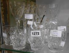 A selection of cut glass items including tumblers, wine glasses, etc.