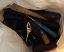 A box and a bag containing a quantity of old tools including air sander, etc.