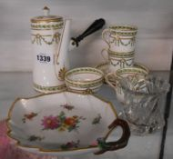 A small selection of china and glass comprising a Copelands China chocolate pot, coffee cans and