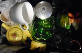 A box containing assorted ceramic and other collectable items including Royal Winton teapot, perspex