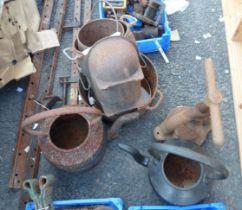 A quantity of metalwork including old screw top press, pots, etc.