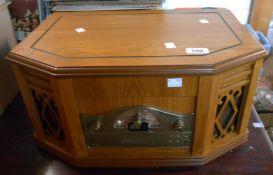A modern Steepletone Model 2057 Nostalgic turntable radio cassette CD player