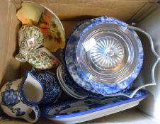 A box containing a quantity of ceramic items including Noritake, blue and white, etc.