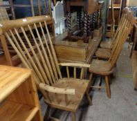 A set of four bespoke Welsh handmade ash and elm high stick back standard chairs with outsized