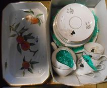 A vintage K.P.M. Berlin part tea set - sold with a Royal Worcester Evesham oven proof dish