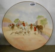 A large Royal Doulton decorative charger The Meet D4326 with transfer printed and hand painted