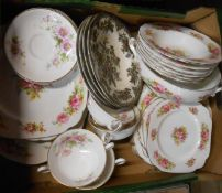 A box containing a quantity of assorted dinnerware including Royal Albert Chatsworth, Royal