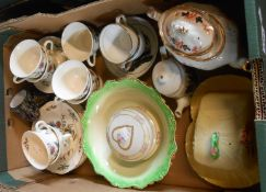 A box containing assorted ceramic items including Carltonware Registered Australian Design cheese