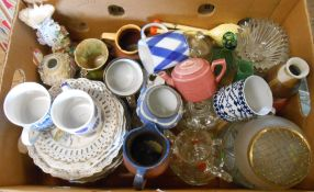 Two boxes containing a selection of assorted ceramics and glassware including Poole Pottery part tea