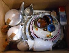 A box containing a quantity of ceramic and glass items including Doulton miniature character jug,