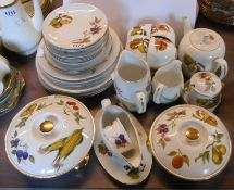 A large quantity of Royal Worcester Evesham tableware including teapot, jugs, tureens, cups and