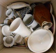 A box containing a quantity of assorted ceramics including large Royal Worcester cabaret tray, etc.