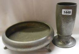 A Liberty Arts and Crafts Movement English 'Tudric' hammered pewter vase, marked 'English