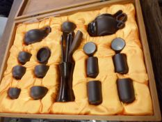 A cased modern Chinese pottery tea set
