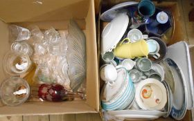 Two boxes containing a selection of ceramics and glassware including Reubens ware vase, Royal