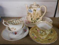 A George Jones pottery teapot in the Azaelea pattern - sold with a Copeland & Garrett porcelain