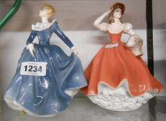 A Royal Doulton figurine Fragrance HN2334 - sold with a Coalport Ladies of Fashion figurine Flora