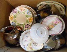 A box containing a quantity of ceramic items including Shelley, Woods, Yuan, etc.