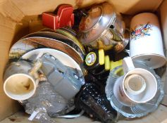 A box containing assorted ceramic and other collectable items including Dalek egg cup, Marmite toast