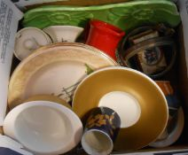 A box containing a quantity of ceramic items including Susie Cooper soup bowls, Palissy Worcester