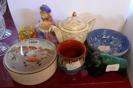 A small selection of ceramic items including Royal Doulton Curly Knob figurine HN1627, Minton