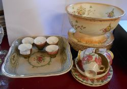 A small selection of ceramic items including Royal Doulton Azalea pattern cups and saucers,