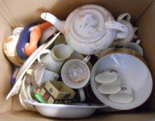 Two boxes containing assorted ceramic items including Shelley part tea set, etc.