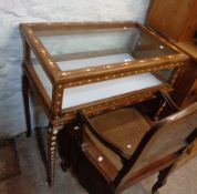An 86cm 20th Century Eastern hardwood table vitrine with inlaid bone decoration, lift-top and all