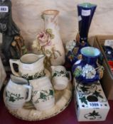 A selection of assorted ceramics including Doulton Lambeth stoneware vase, sponge decorated red
