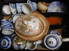 A box containing assorted ceramic items including a Leaper Newlyn dish, blue and white cups and
