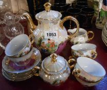 A vintage Bavarian part coffee set comprising coffee pot, six cups and saucers, cream jug and lidded