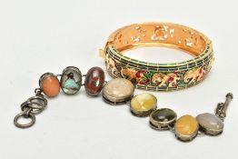 A WHITE METAL SEMI-PRECIOUS GEMTONE SET BRACELET AND A BANGLE, the bracelet designed with seven