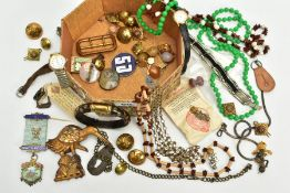 A BOX OF ITEMS, to include a silver gilded medal 'Founder 1917 Maguncor, lodge 3906, assistant, on a
