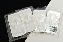 FOUR FINE SILVER BARS, each depicting a lion and crown, signed 'Scottsdale Silver, 999 fine