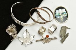 A SELECTION OF WHITE METAL ITEMS, to include a bangle with square detailing all round stamped 925,