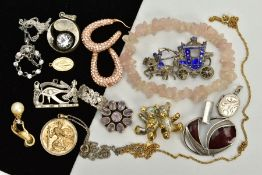 A SELECTION OF JEWELLERY, to include a pair of yellow metal crystal embellished hoop earrings,