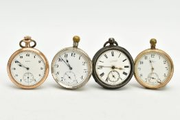 FOUR OPEN FACED POCKET WATCHES, to include a gold plated 'Waltham' with a white dial signed 'Waltham