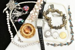 A SELECTION OF COSTUME JEWELLERY, to include a handmade wrapped wire and cultured pearl bracelet,