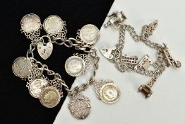 TWO SILVER CHARM BRACELETS, the first suspending nine three pence coins, all within a collet mount