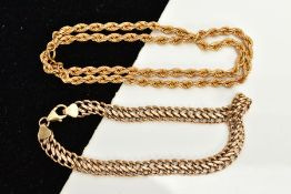 A 9CT GOLD ROPE TWIST CHAIN AND A BRACELET, the hollow rope twist chain, fitted with a spring clasp,