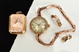 A SMALL QUANTITY OF ITEMS, to include a ladies 9ct gold wristwatch, silver dial, Arabic numerals,