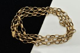 A 9CT GOLD CURB LINK CHAIN, fitted with a lobster claw clasp, hallmarked 9ct gold Birmingham, length