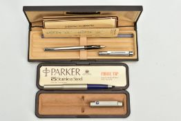 A BALL POINT PARKER PEN AND A SHAFFER FOUNTAIN PEN, a cased parker 25 stainless steel, together with