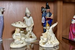 FOUR ROYAL DOULTON FIGURES 'The Wizard' HN2877, and three from the Enchantment collection, '