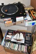 THREE BOXES AND LOOSE CONTAINING OVER ONE HUNDRED LP'S, over fifty cds and tapes, a Sony PS-LX150H